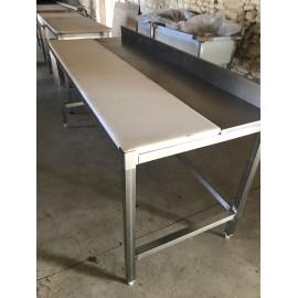 TABLE DE DÉCOUPE CHASSIS INOX MIXTE 190 X 73 CM