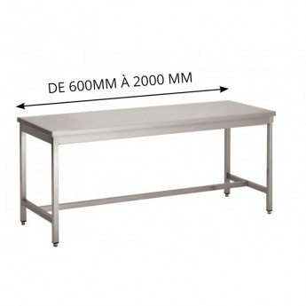 TABLES SOUDEES INOX BORDS DROITS PIEDS CARRÉS